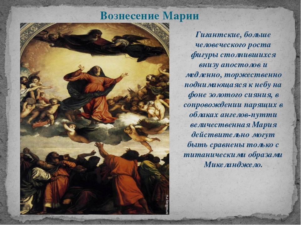Вознесение Марии Гигантские, больше человеческого роста фигуры столпившихся в...