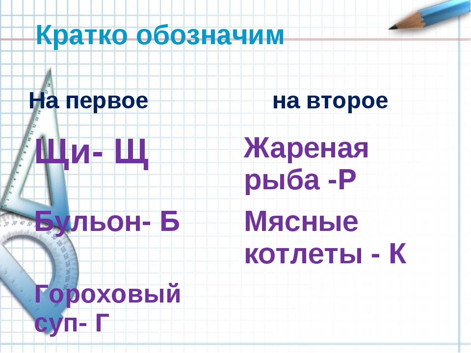 Кратко обозначим На первое на второе Щи- ЩЖареная рыба -Р Бульон- БМясные...