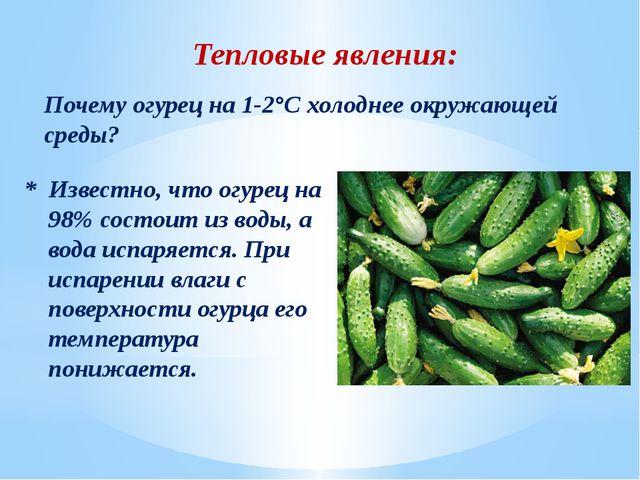 Тепловые явления: Почему огурец на 1-2°С холоднее окружающей среды? * Известн...