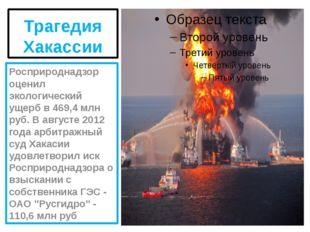Трагедия Хакассии Росприроднадзор оценил экологический ущерб в 469,4 млн руб.