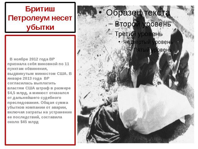 Бритиш Петролеум несет убытки В ноябре 2012 года ВР признала себя виновной по...