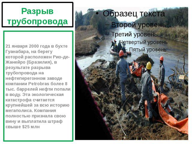 Разрыв трубопровода 21 января 2000 года в бухте Гуанабара, на берегу которой...