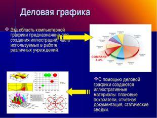 Деловая графика Эта область компьютерной графики предназначена для создания и