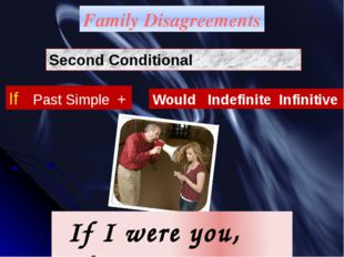 Family Disagreements Second Conditional If Past Simple + Would Indefinite Inf