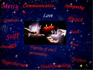Love Mercy Peace Patience Understanding Trust Support Togertherness Communica
