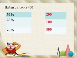 Найти от числа 400 50% 25% 75% 200 100 300