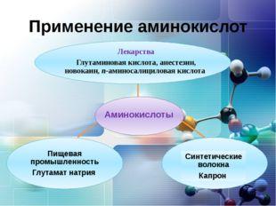 Применение аминокислот Лекарства Глутаминовая кислота, анестезин, новокаин, п