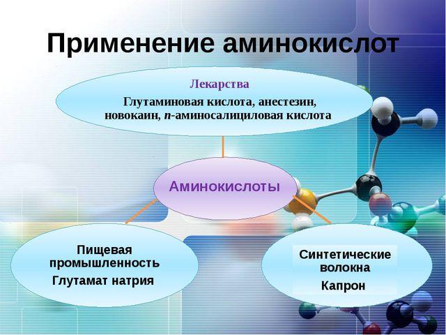 Применение аминокислот Лекарства Глутаминовая кислота, анестезин, новокаин, п...