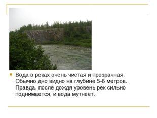 Вода в реках очень чистая и прозрачная. Обычно дно видно на глубине 5-6 метро