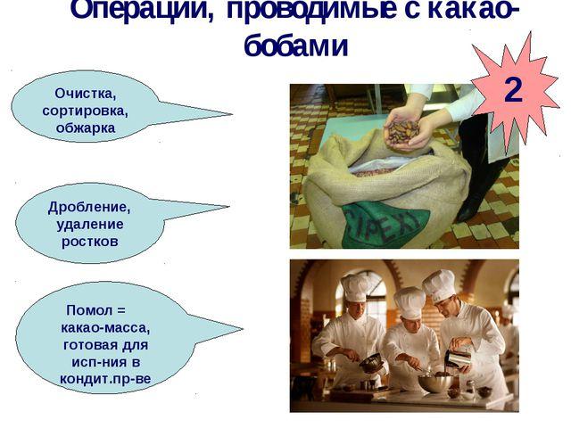 Операции, проводимые с какао-бобами Очистка, сортировка, обжарка Дробление, у...