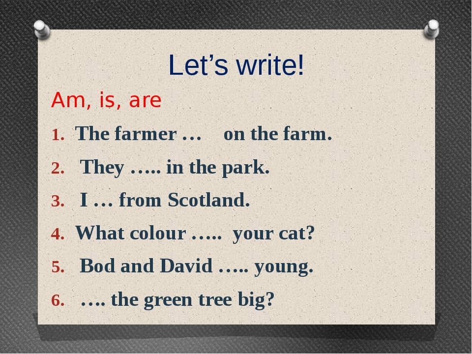Let's write! Am, is, are The farmer … on the farm. They ….. in the park. I …...