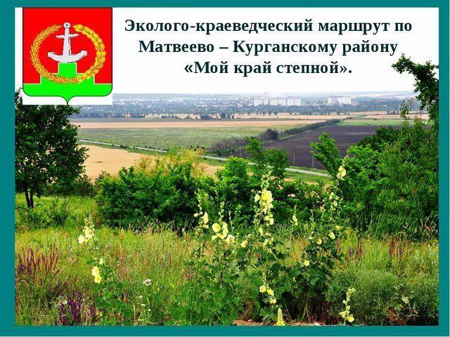 Эколого-краеведческий маршрут по Матвеево – Курганскому району «Мой край степ...