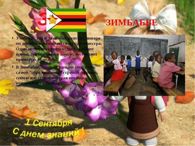 З ЗИМБАБВЕ Учебный год в Зимбабве длится с января по декабрь и разбивается на...