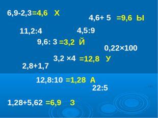 6,9-2,3 =4,6 Х 4,6+ 5 9,6: 3 3,2 ×4 12,8:10 1,28+5,62 11,2:4 2,8+1,7 4,5:9 0,