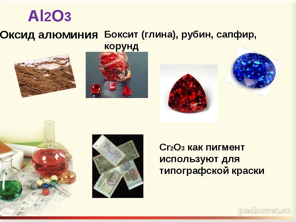 Оксид алюминия Al2O3 Боксит (глина), рубин, сапфир, корунд Cr2О3 как пигмент...