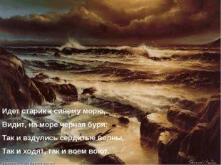 Идет старик к синему морю, Видит, на море черная буря: Так и вздулись сердиты