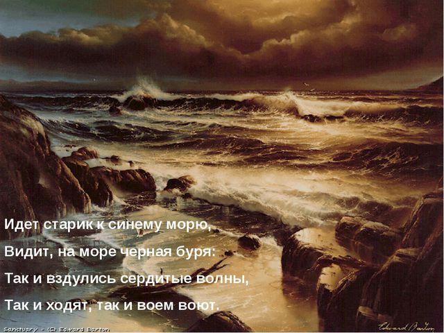 Идет старик к синему морю, Видит, на море черная буря: Так и вздулись сердиты...