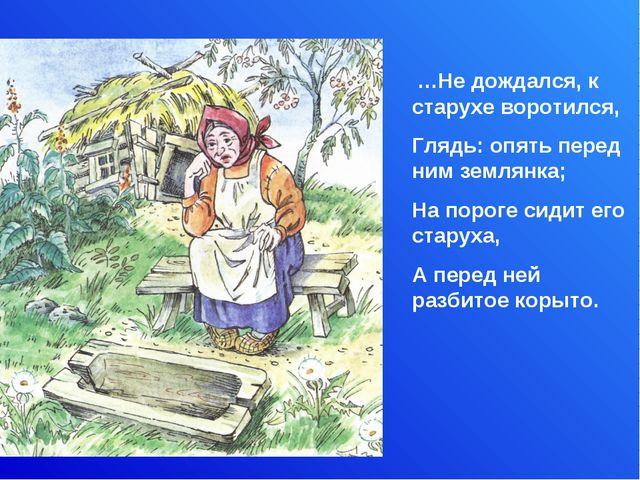 …Не дождался, к старухе воротился, Глядь: опять перед ним землянка; На порог...