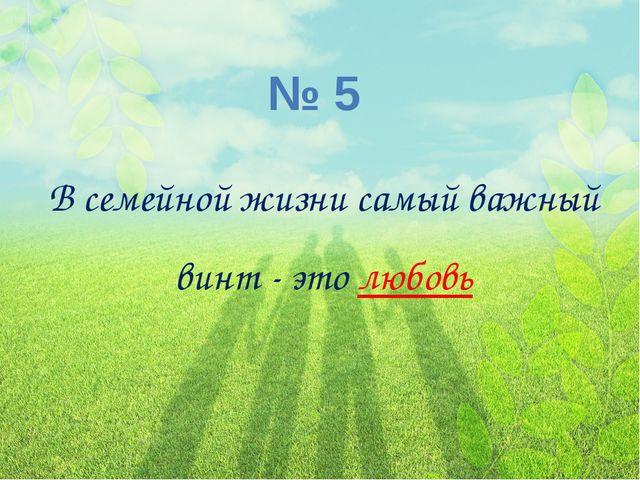 № 5 В семейной жизни самый важный винт - этолюбовь