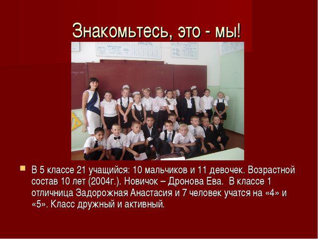 Знакомьтесь, это - мы! В 5 классе 21 учащийся: 10 мальчиков и 11 девочек. Воз...