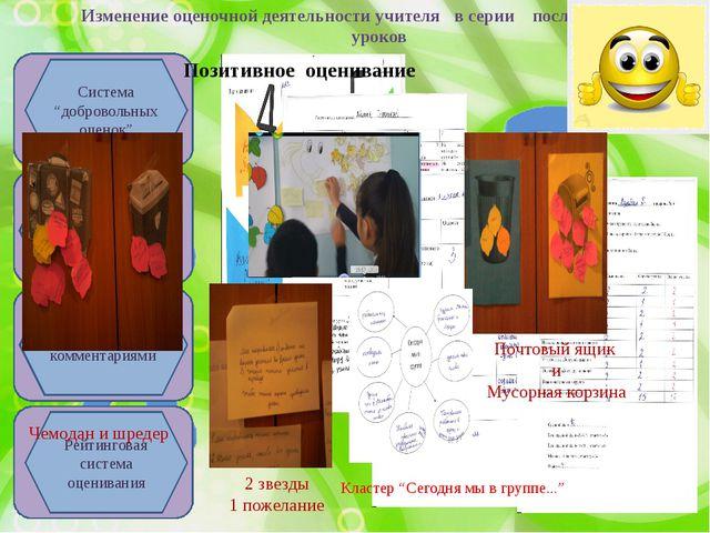 Изменение оценочной деятельности учителя в серии последовательных уроков Урок...
