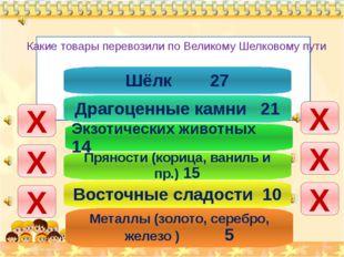 Х Х Х Х Х Х Шёлк 27 Драгоценные камни 21 Экзотических животных 14 Пряности (