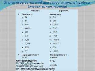 Эталон ответов заданий для самостоятельной работы (элементарные расчеты) Крит