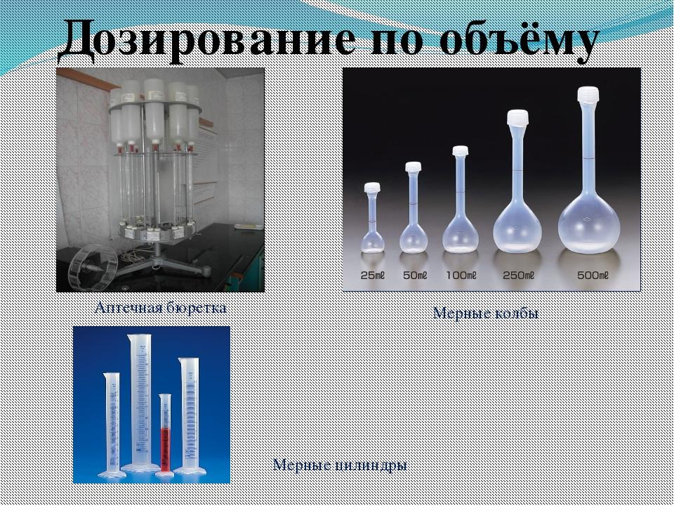Аптечная бюретка Мерные колбы Мерные цилиндры Дозирование по объёму