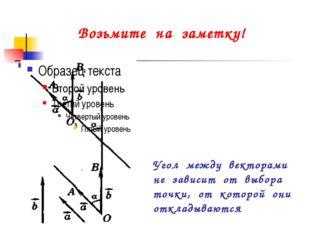 Угол между векторами не зависит от выбора точки, от которой они откладываются