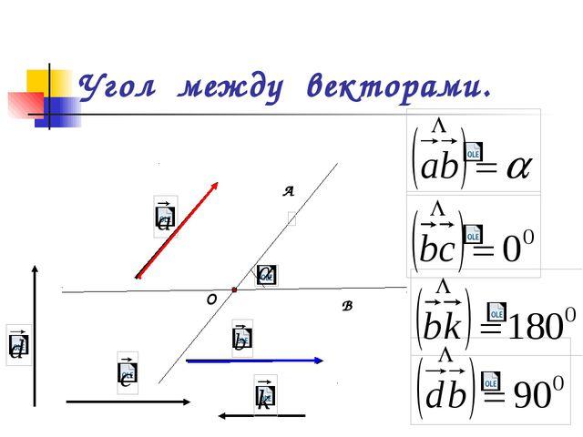 Угол между векторами. О А В