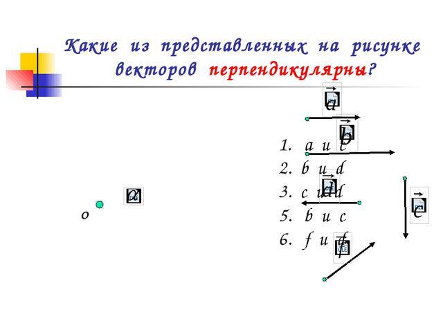 Какие из представленных на рисунке векторов перпендикулярны? О а и c 2. b и d...