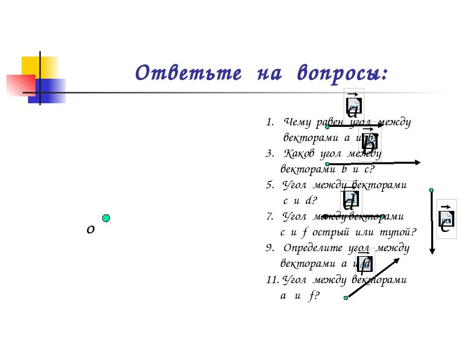 Ответьте на вопросы: О Чему равен угол между векторами а и b? Каков угол межд...