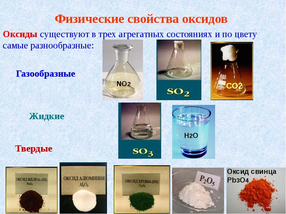 Физические свойства оксидов Оксиды существуют в трех агрегатных состояниях и...