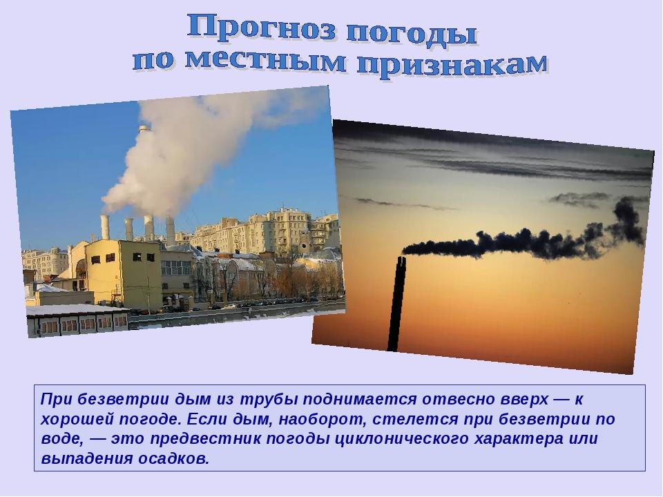 При безветрии дым из трубы поднимается отвесно вверх — к хорошей погоде. Если...