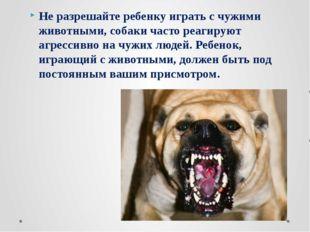 Не разрешайте ребенку играть с чужими животными, собаки часто реагируют агрес