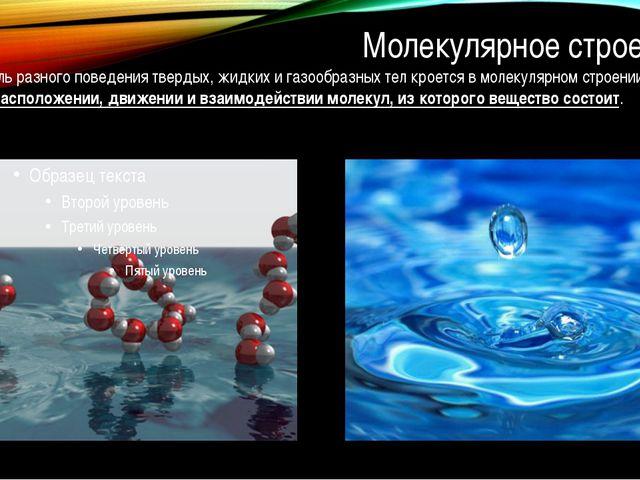 Молекулярное строение Причина столь разного поведения твердых, жидких и газо...
