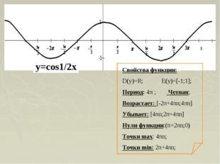 Свойства функции: D(y)=R; E(y)=[-1;1]; Период: 4π ; Четная; Возрастает: [-2π+