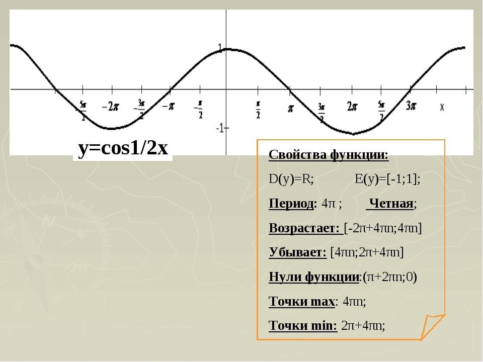 Свойства функции: D(y)=R; E(y)=[-1;1]; Период: 4π ; Четная; Возрастает: [-2π+...