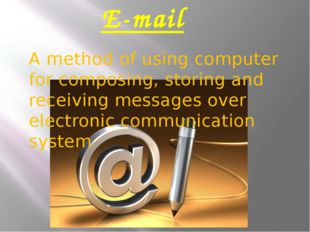 E-mail A method of using computer for composing, storing and receiving messag