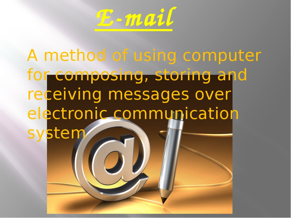 E-mail A method of using computer for composing, storing and receiving messag...