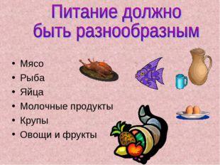 Мясо Рыба Яйца Молочные продукты Крупы Овощи и фрукты
