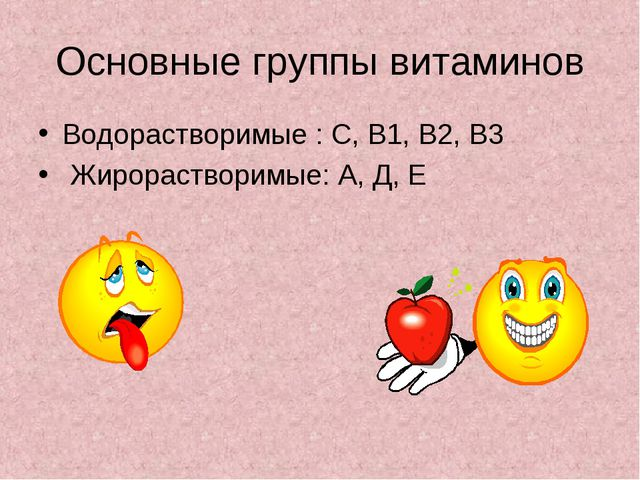 Основные группы витаминов Водорастворимые : С, В1, В2, В3 Жирорастворимые: А,...