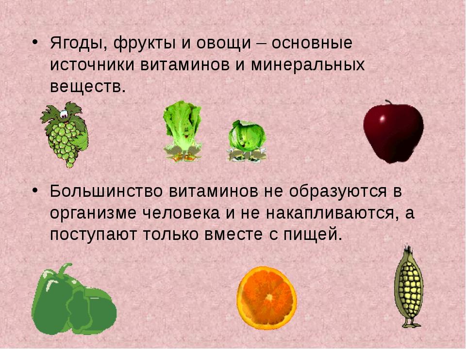Ягоды, фрукты и овощи – основные источники витаминов и минеральных веществ. Б...
