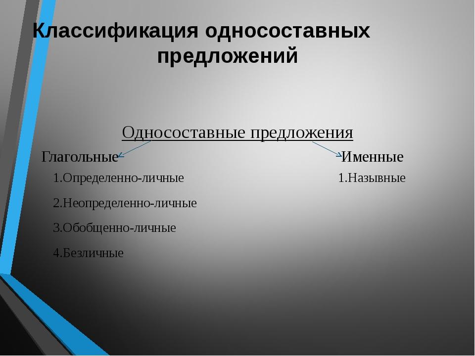 Классификация односоставных предложений Односоставные предложения Глагольные...