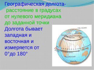 Географическая долгота- расстояние в градусах от нулевого меридиана до заданн