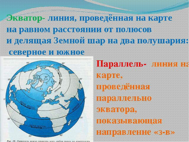 Экватор- линия, проведённая на карте на равном расстоянии от полюсов и деляща...