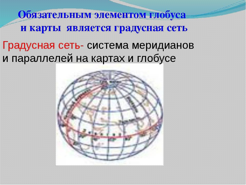 Обязательным элементом глобуса и карты является градусная сеть Градусная сеть...