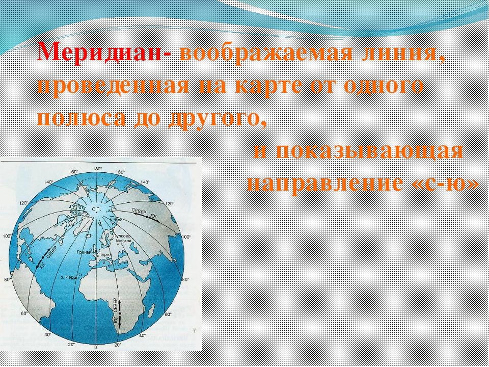 Меридиан- воображаемая линия, проведенная на карте от одного полюса до другог...