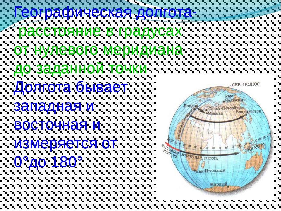Географическая долгота- расстояние в градусах от нулевого меридиана до заданн...
