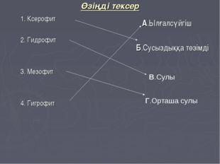 Өзіңді тексер 1. Ксерофит 2. Гидрофит 3. Мезофит 4. Гигрофит А.Ылғалсүйгіш Б.